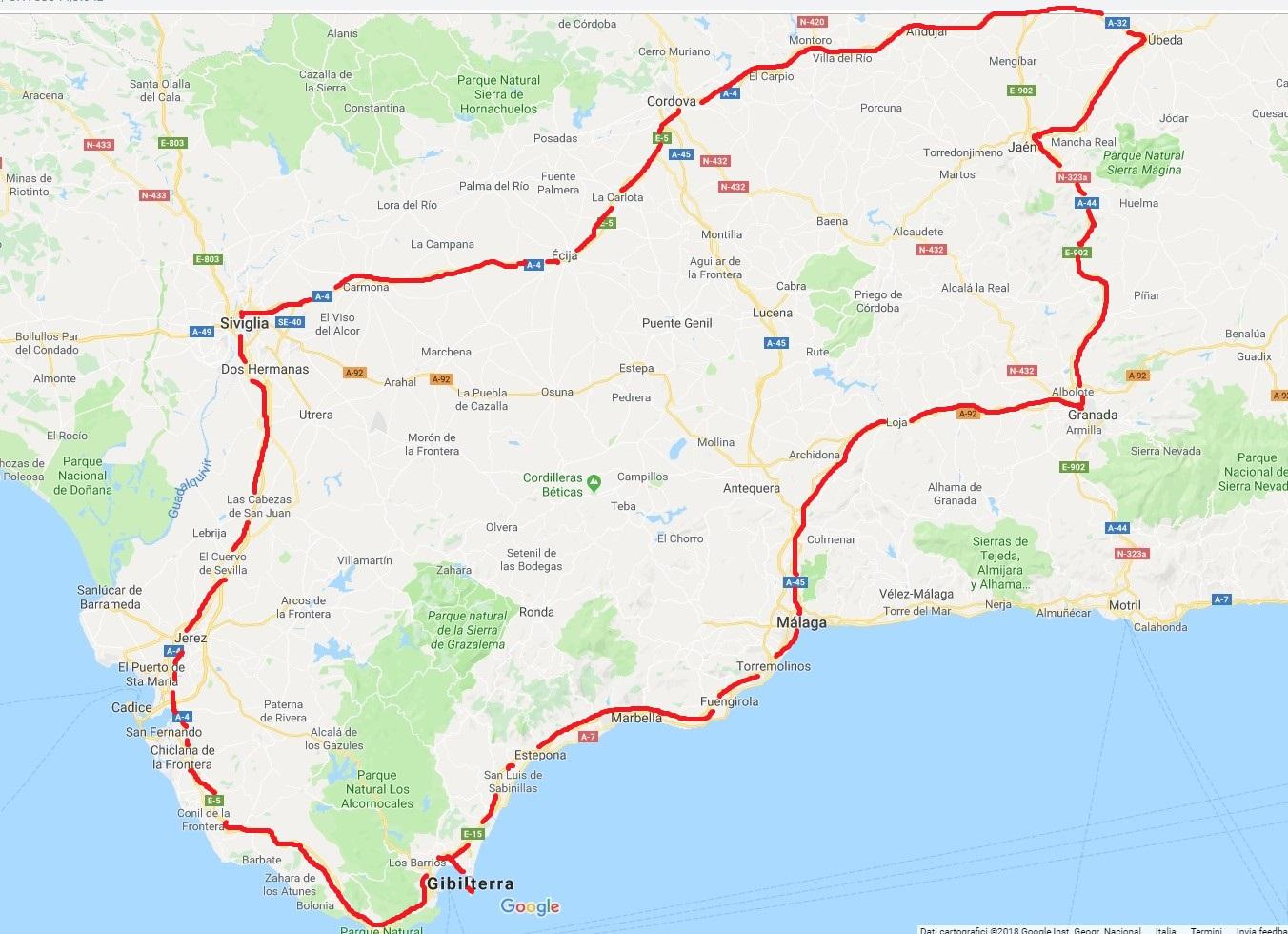 Malaga Spagna Cartina.Vivendo Salendo Viaggio In Andalusia Spagna Siviglia Jerez De La Frontera Tarifa Malaga Granada Baeza Ubeda E Cordoba E A Gibilterra Regno Unito