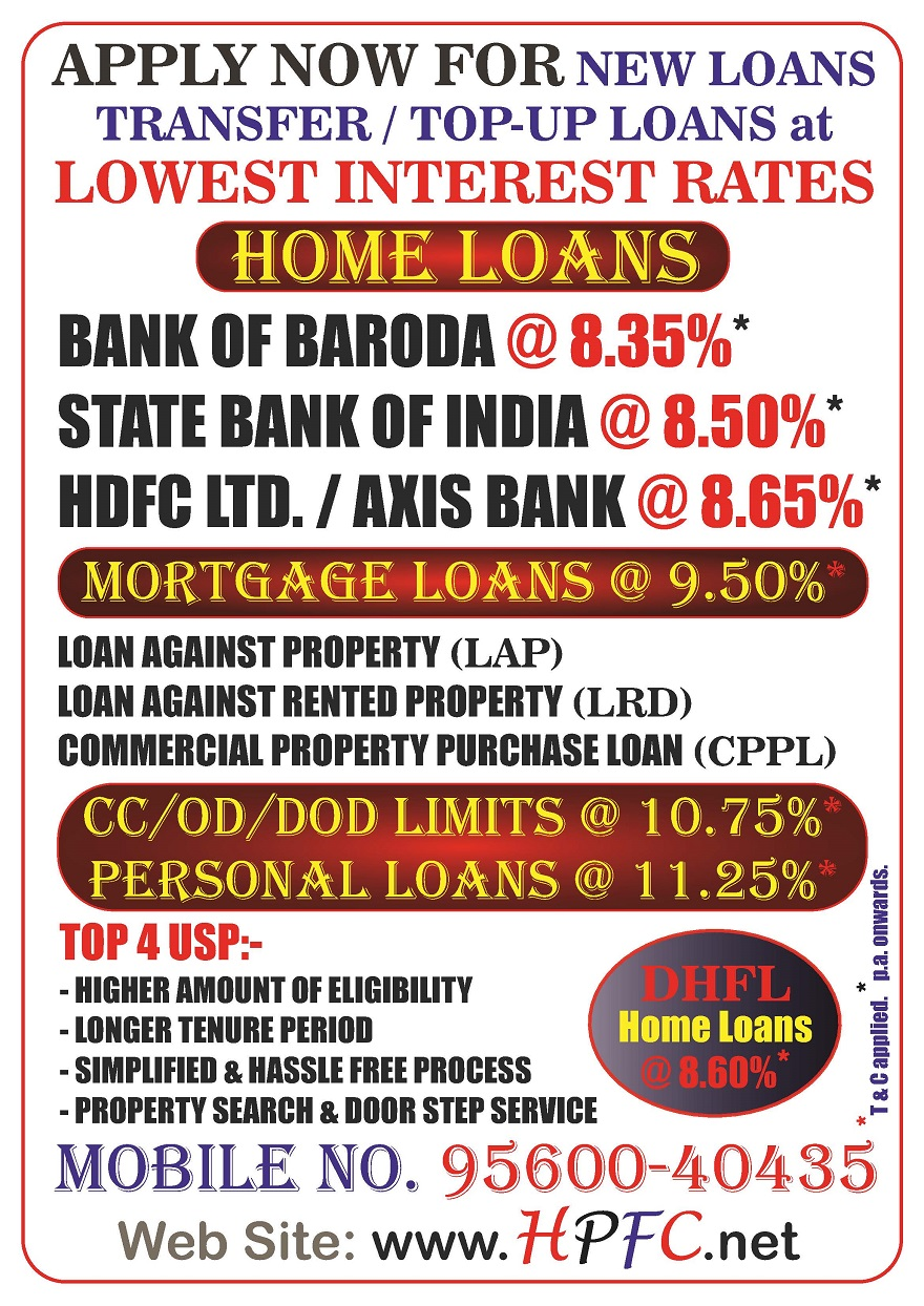 New Loans, Balance Transfer & Top up Home Loans, Loan Against Property (LAP), Lease Rent Discount (LRD), CPPL at Lowest Interest Rates in Gurugram, Noida, Faridabad, Greater Noida, Delhi NCR