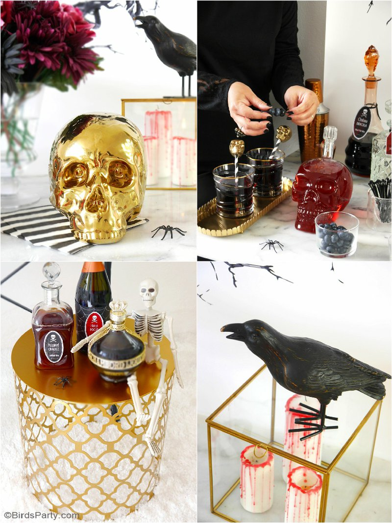 Creepy n' Chic Halloween Cocktail Party Ideas - lots of DIY decorations and drinks recipes for an adult themed spooky and girly glam soiree! by BirdsParty.com @birdsparty