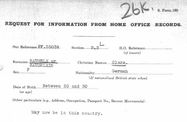 February 12, 1941 - KV 2/24 - 26k - MI5 request for Home Office lookup of Clara Bauerle.