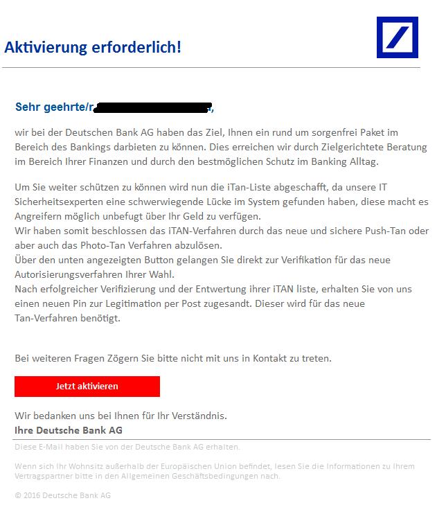 Itan Deutsche Bank: Phishing-Mail-Alerts.de