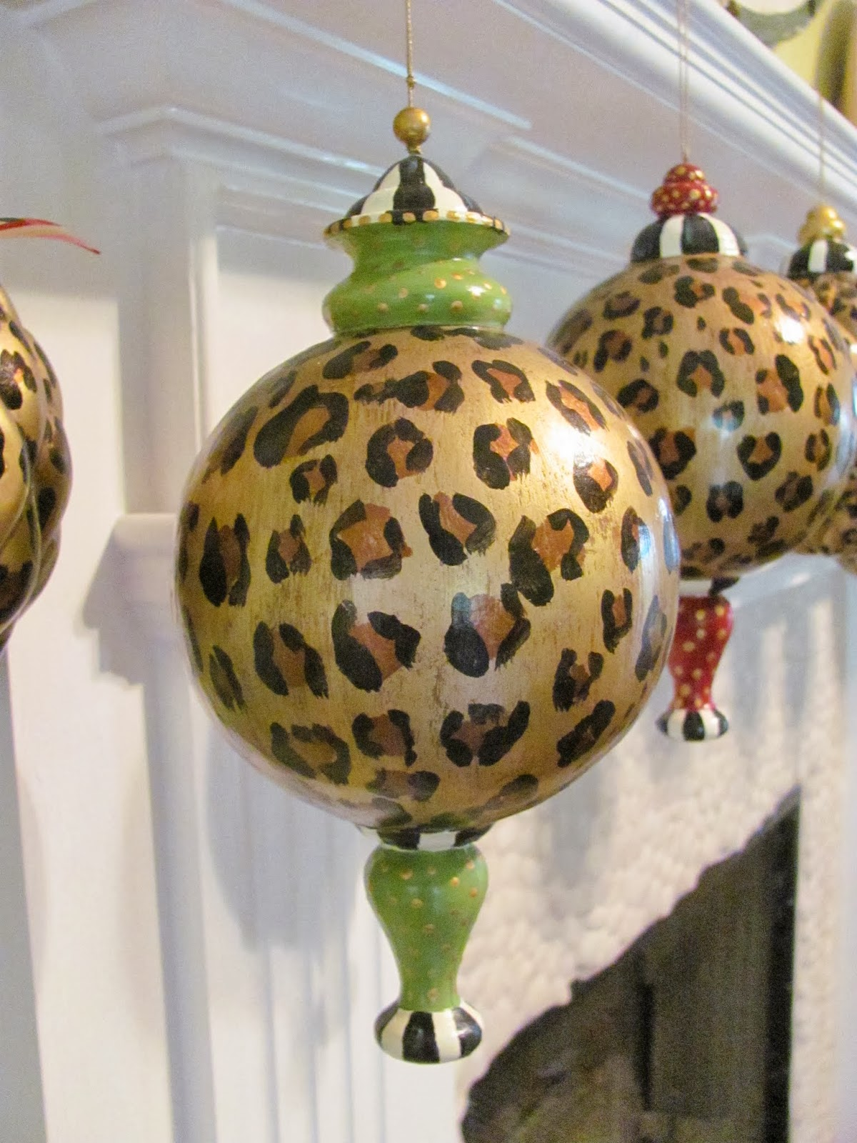 hand painted large leopard print ornament