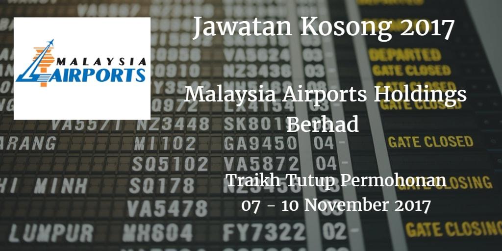 Jawatan Kosong MAHB 07 - 10 November 2017