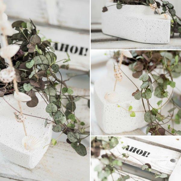 Selbstgemachter Blumentopf aus Ytong