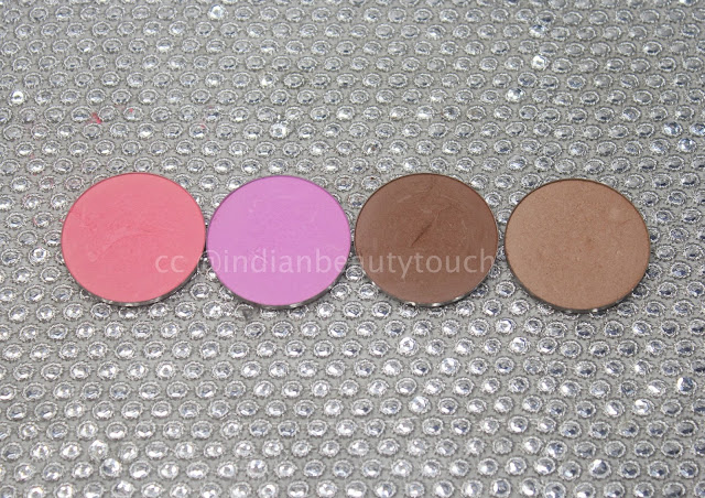 Makeup Geek, Makeup Geek Blush & contour powder Review & Swatches, Blush swatches, Contouring, contour powder, Face, Makeup, Makeup Products Review, swatches,affordable makeup in india, Makeup geek blush in XoXo and Secret Admirer & contour powder pans in Half Hearted and Bad Habit review & swatches