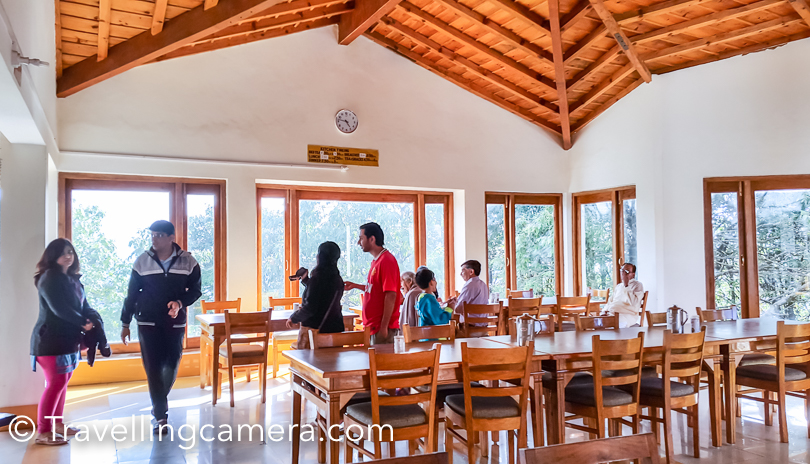KMVN Binsar has a huge dining area and timings are fixed for bed tea, breakfast, lunch, evening tea and dinner. Bed tea is served in rooms at 6am. So when you are staying at KMVN Binsar, assume that you would be sleeping at 10pm max and the day would start at 6am. Usually they don't serve food in rooms. There is a beautiful terrace on the backside of the hotel, which offers great views of snow covered himalayas. You can request the staff to serve evening snacks on the terrace and they arrange it.