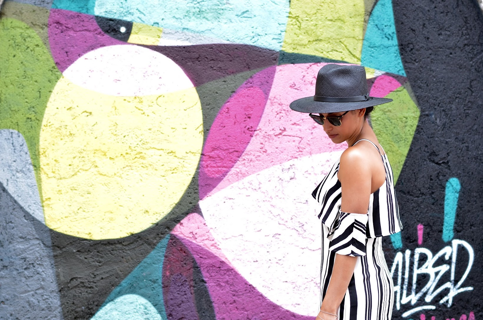 lisbon, portugal, street style in lisbon, what to wear in lisbon, what to wear in portugal, summer style, European vacation, black straw fedora, Goorin Bros straw fedora, striped Joa dress, J.O.A, chic summer vacation style