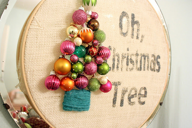 darling ornament tree on burlap