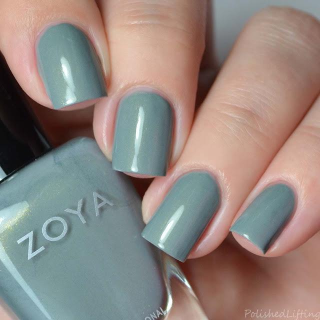 sage green shimmer nail polish