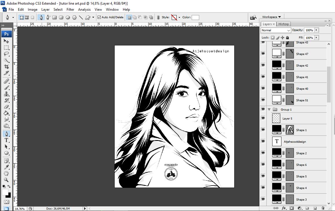 Line Art Tutorial Photo : Tutorial membuat lineart dengan photoshop atjehscootdesign