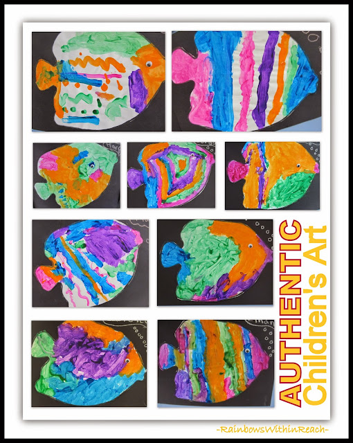 AUTHENTIC Children's Art Fish Paintings Displayed at PreK+K Sharing