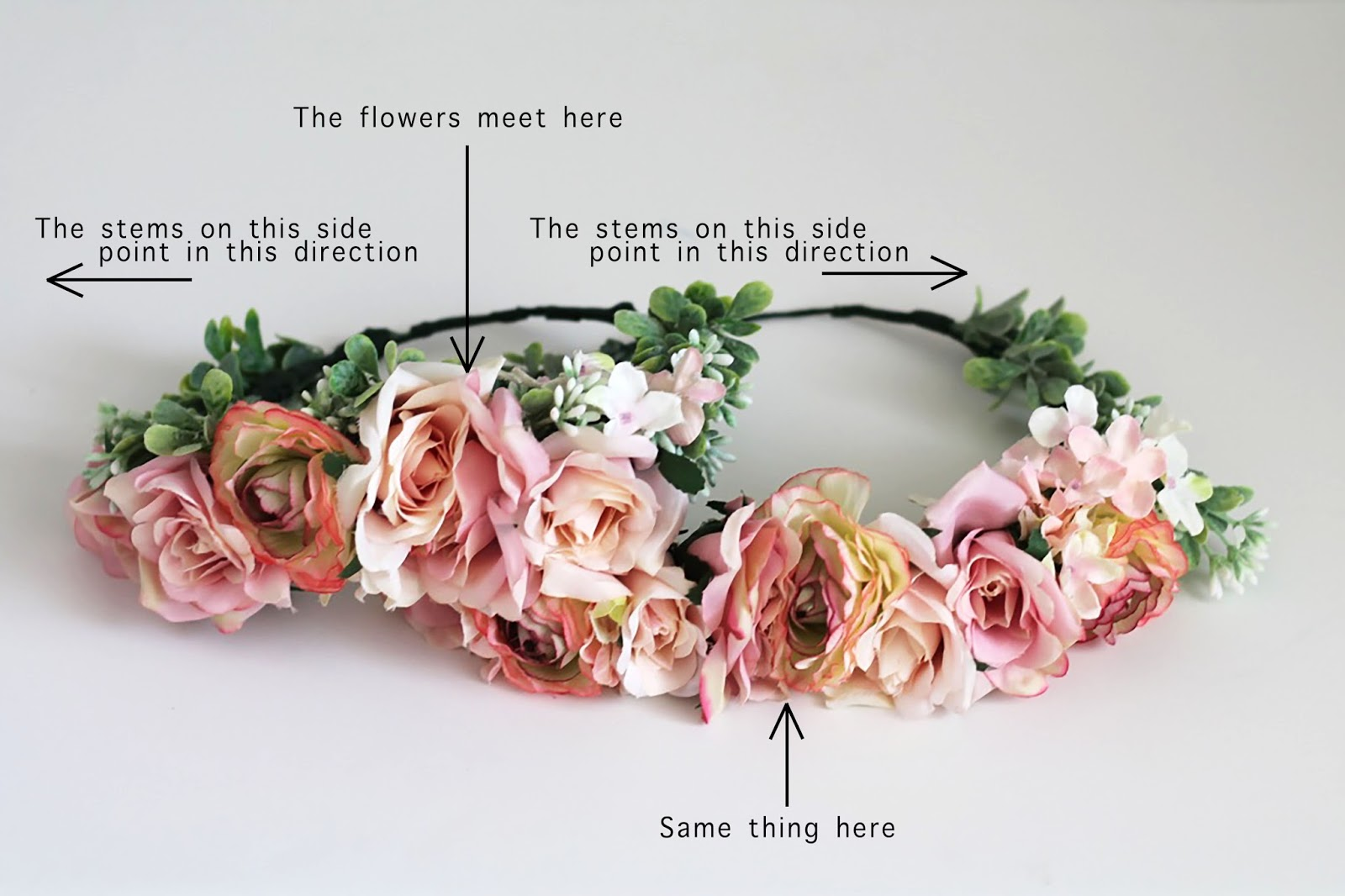 Flower crown tutorial home with the hoovers i continued adding flowers until i felt like i had enough next i added greenery to the sides of the crowns i used the same wire and tape method as above izmirmasajfo