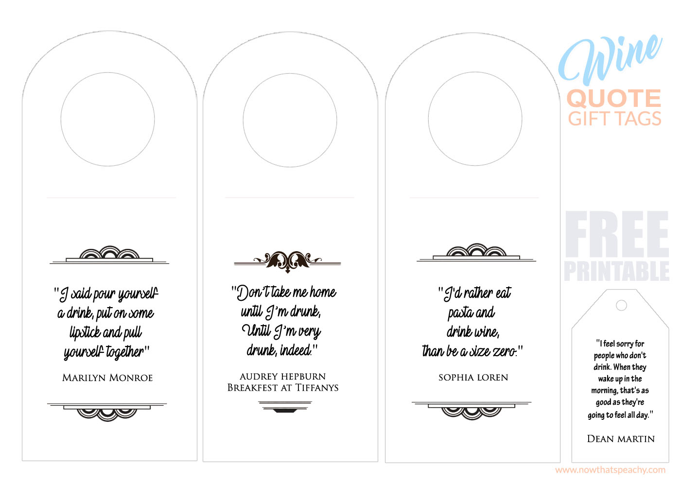 Celebrity Booze Quote Bottle gift tags | Free Printable | Now thats ...