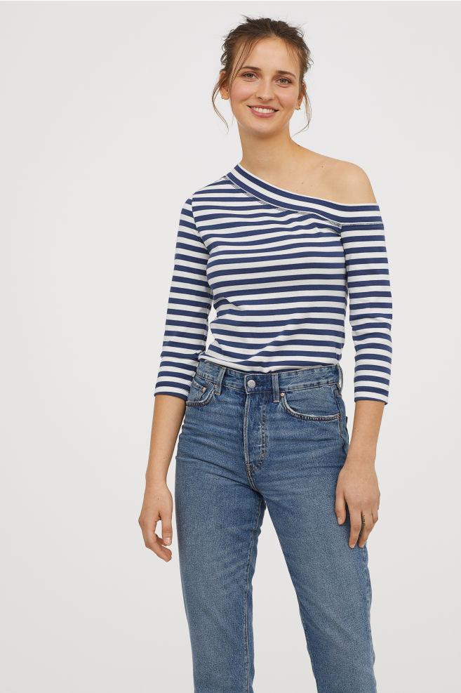 Női és férfi póló divat  Kék-fehér csíkos pólók  a tavasz és a nyár ... a39965b26d