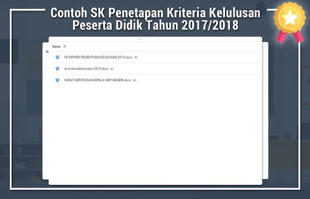 Contoh SK Penetapan Kriteria Kelulusan Peserta Didik Tahun 2017/2018