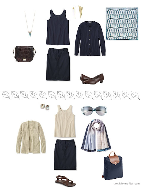 2 ways to style a navy skirt for a summer vacation