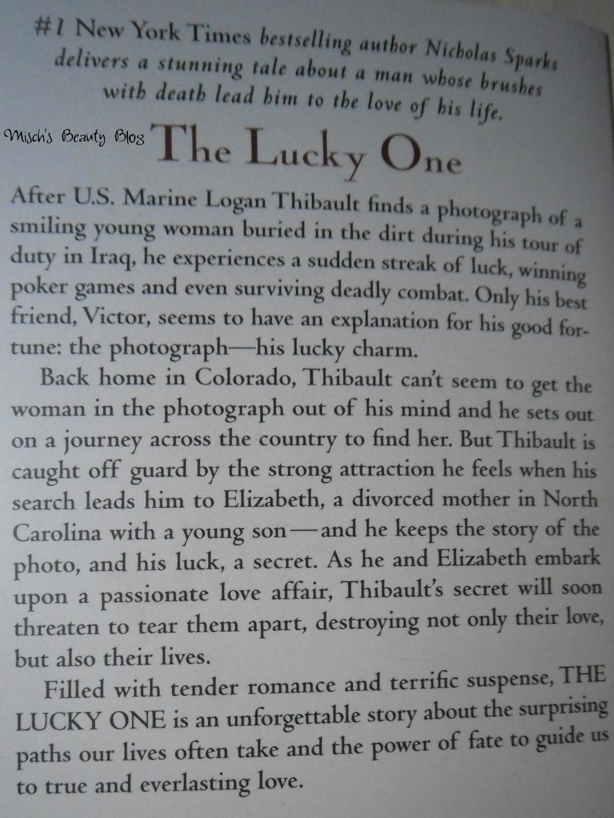 Misch's Beauty Blog: Book Review: The Lucky One - Nicholas ...