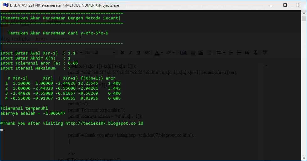 program c++ metode secant
