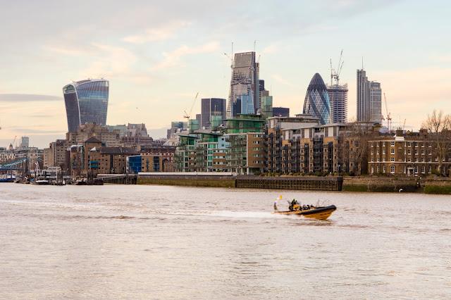 La city di Londra vista da Rotherhithe-Londra