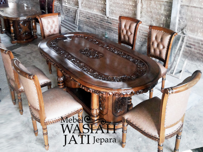Meja Makan Kayu Jati dari Toko Mebel Wasiah Jati Jepara