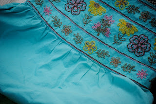 Thrift store finds- cute turquoise embroidered dress
