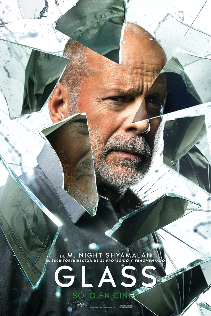 Glass Con James Mcavoy Samuel L Jackson Y Bruce Willis Noche