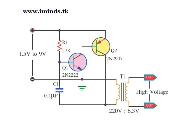 Iminds High Voltage Mini Power Supply By 2n2222