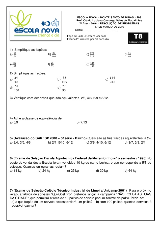 Exercicios Fracoes 7º Ano Atividades De Matematica