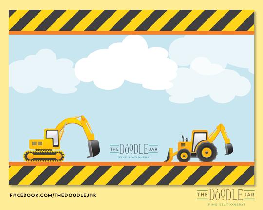 Jar Of Ideas Construction Trucks Birthday Invitation