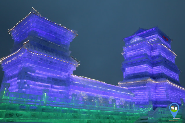 Chinese Pagoda Ice Sculpture at Harbin Ice Sculpture Exhibition in Heilongjiang, China