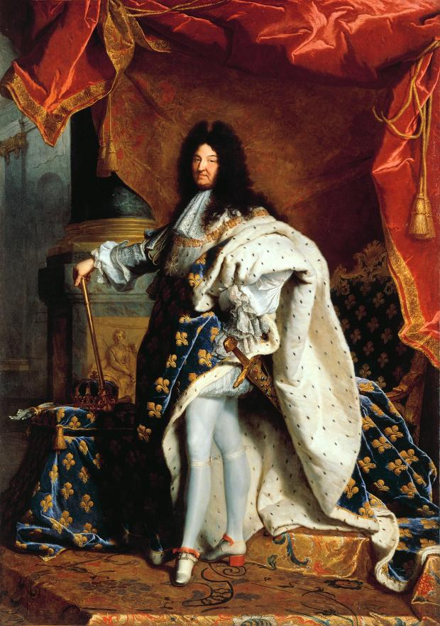 Portrait of LOUIS XIV of France, at age 65, standing in the 4th position, by RIGAUD HYACINTHE in the 4th position. It was all about the legs. Importance of Pirouettes. marchmatron.com