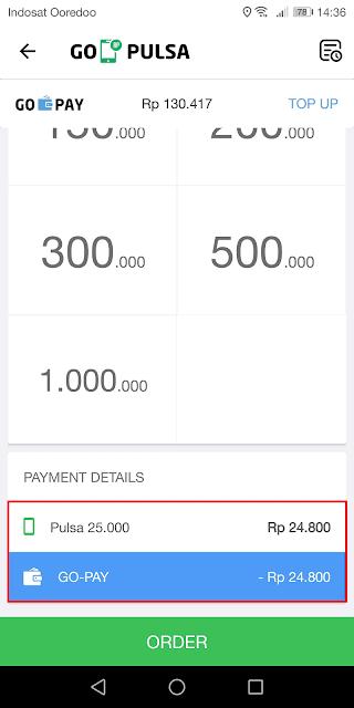 detil harga yang harus dibayarkan tertera di bagian bawah aplikasi