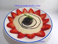 Crema de vainilla, chocolate y fresas