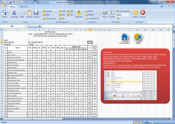 Aplikasi Pengolahan Nilai Semester untuk SD Format Microsoft Excel