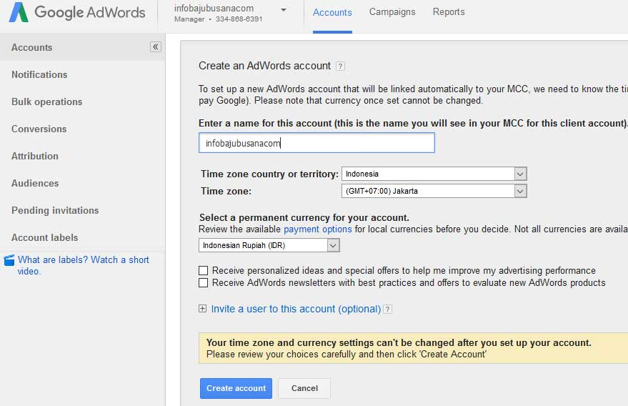Create name MCC an AdWords account