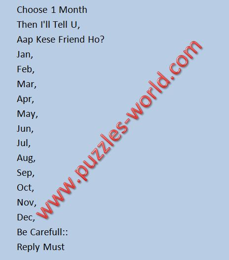 Choose 1 Month Aap Kese Friend Ho Puzzles World