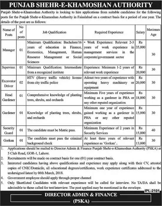 Jobs In Punjab Shehr-E-Khamoshan Authority Feb 2018