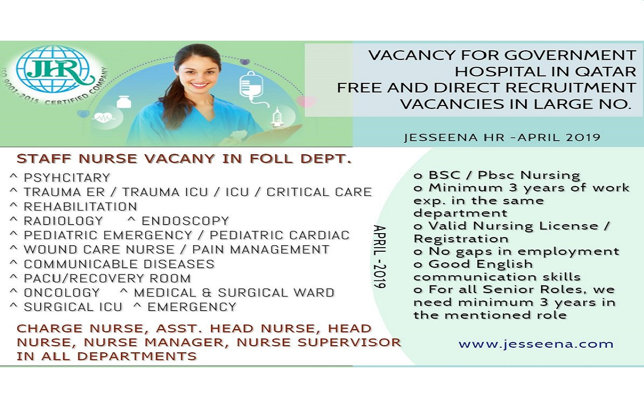 Staff Nurse Vacancies for a Government Hospital in Qatar