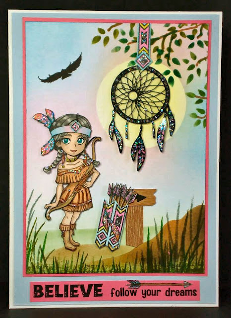 American Indian girl character-bow and arrows-dream catcher-stamps-visible image