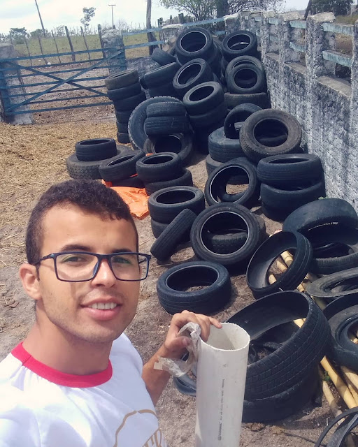 Young Brazilian transforms old tires into kennels for dogs and cats