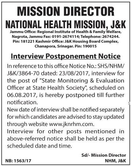 J&K National Health Mission postpones interview