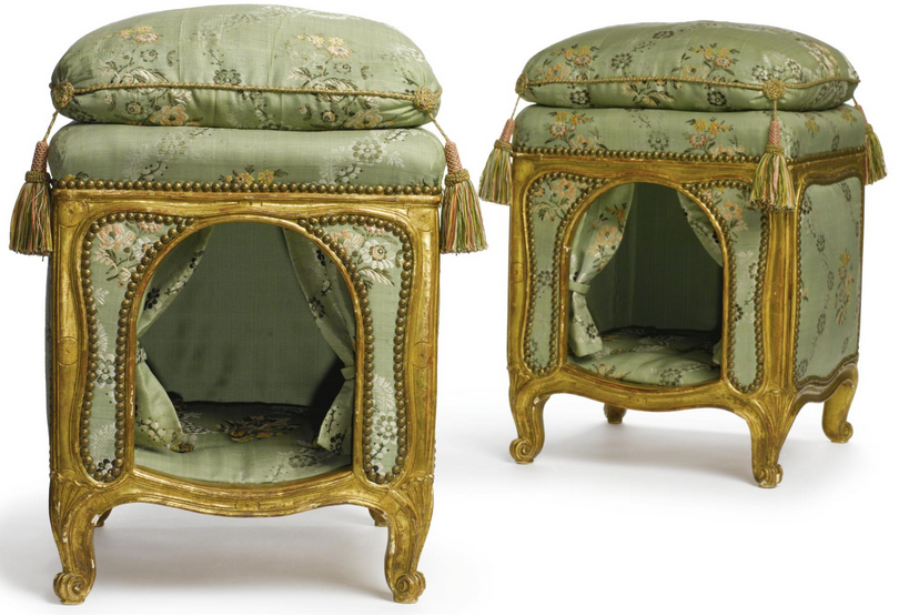 A Pair of Louis XV Dog Kennels, made with green satin and gold detail. There is a floral design on the satin.