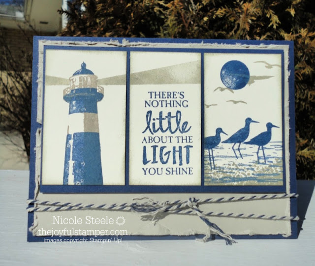 Masculine encouragement card using Stampin' Up!'s High Tide and Sahara Sand and Night of Navy twine