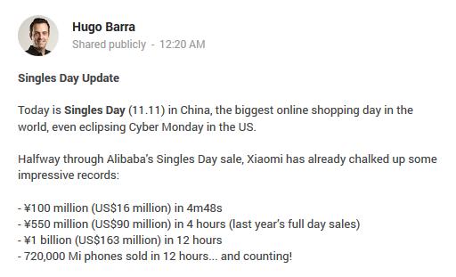 Xiaomi bán được 720.000 điện thoại trong vòng nửa ngày