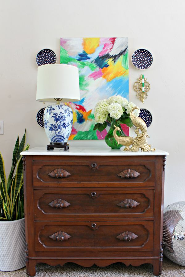 vintage chest, antique dresser, styling, white hydrangeas, layered canvas artwork, polish pottery