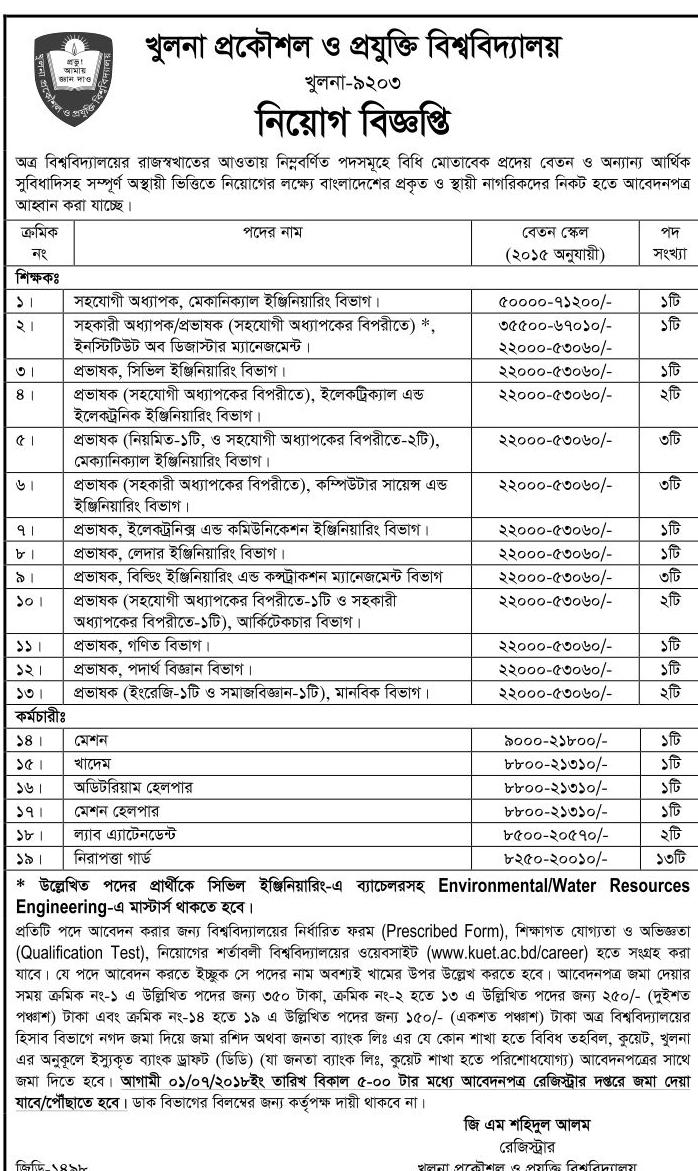 KUET Professor, Lecturer and Employee Recruitment Circular 2018