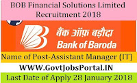 BOB Financial Solutions Limited Recruitment 2018 – Assistant Manager (IT)