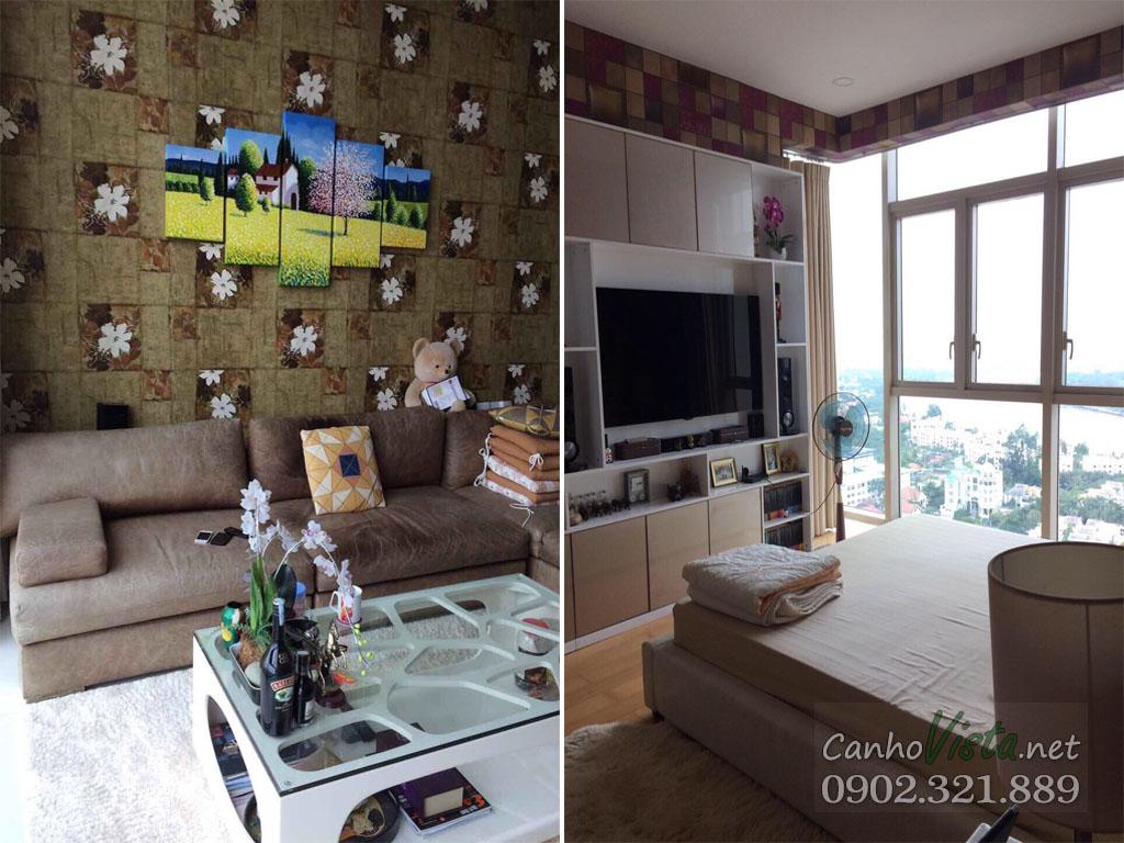 Căn hộ 3 phòng ngủ The Vista cho thuê tầng cao T4 - hình 2