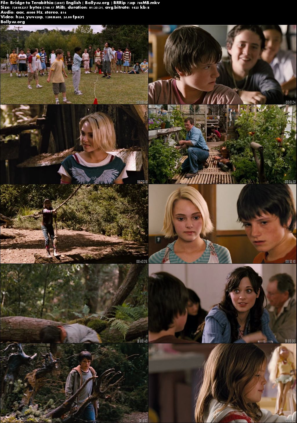 Bridge to Terabithia 2007 BRRip 280MB 480p Full English Movie Download