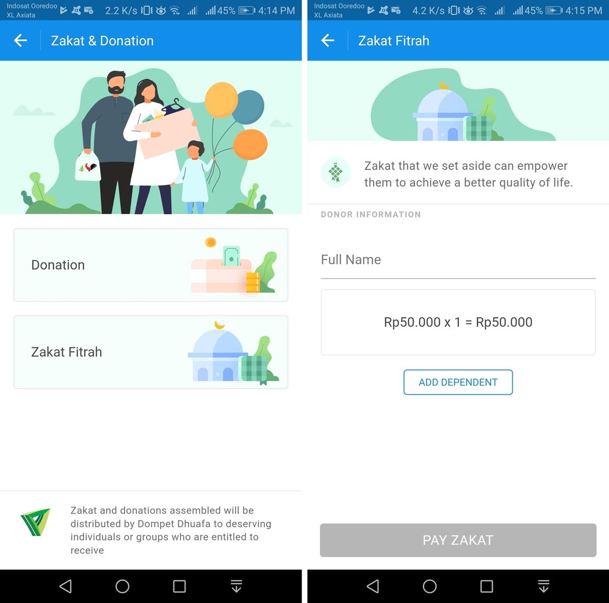 Menu Zakat & Donasi dan Menu Zakat Fitrah di Aplikasi Dana (Endah/Teknogav.com)